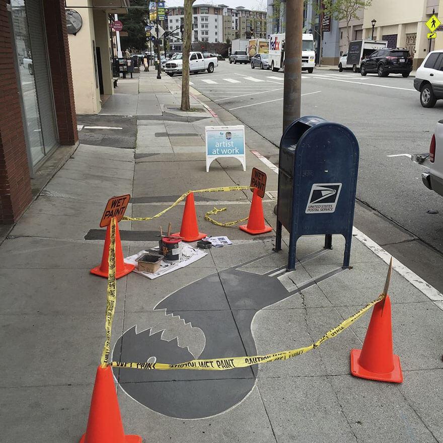 Esse artista de rua pinta sombras falsas para confundir pedestres de forma sensacional 6 - Porque não usarmos a arte para surpreender alguns pedestres ?