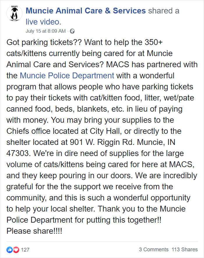 pay parking tickets cat food muncie animal care services police 1 5d318b8888656 700 - O Departamento Policial de Indiana permite que pessoas paguem suas multas com ração para gatos