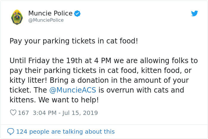 pay parking tickets cat food muncie animal care services police 10 5d31917dc838f 700 - O Departamento Policial de Indiana permite que pessoas paguem suas multas com ração para gatos