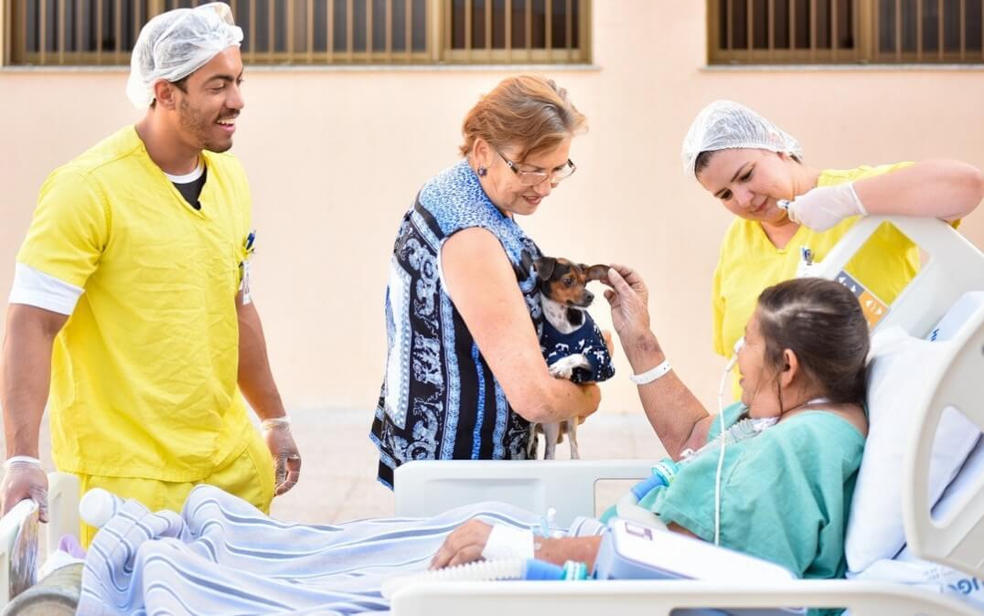 visita cão2 - Paciente goiana internada recebe visita surpresa do seu cãozinho com apoio do hospital