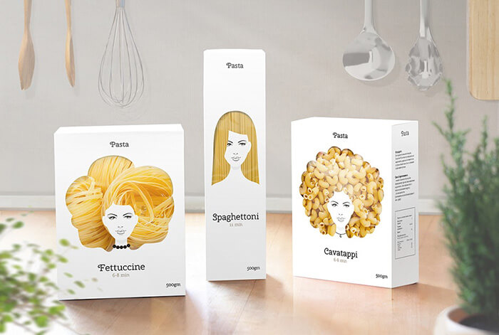 diseno creativo paquete pasta peinados nikita 5 - Designer cria embalagens de macarrão celebrando a diversidade do cabelo feminino
