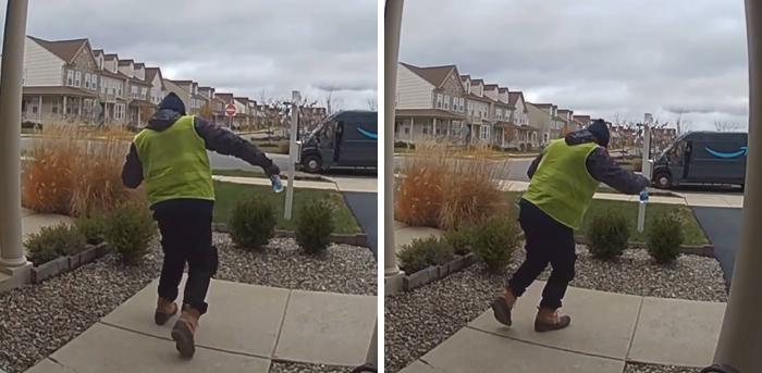 video amazon delivery man discovering snacks outside house 3 5de8cfc7e8c8a 700 - Mulher faz surpresa para entregador da Amazon e sua reação é inacreditável