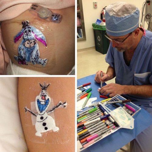 aaa 500x500 1 - Cirurgião faz desenhos em curativos para que as crianças se alegrem após cirurgias