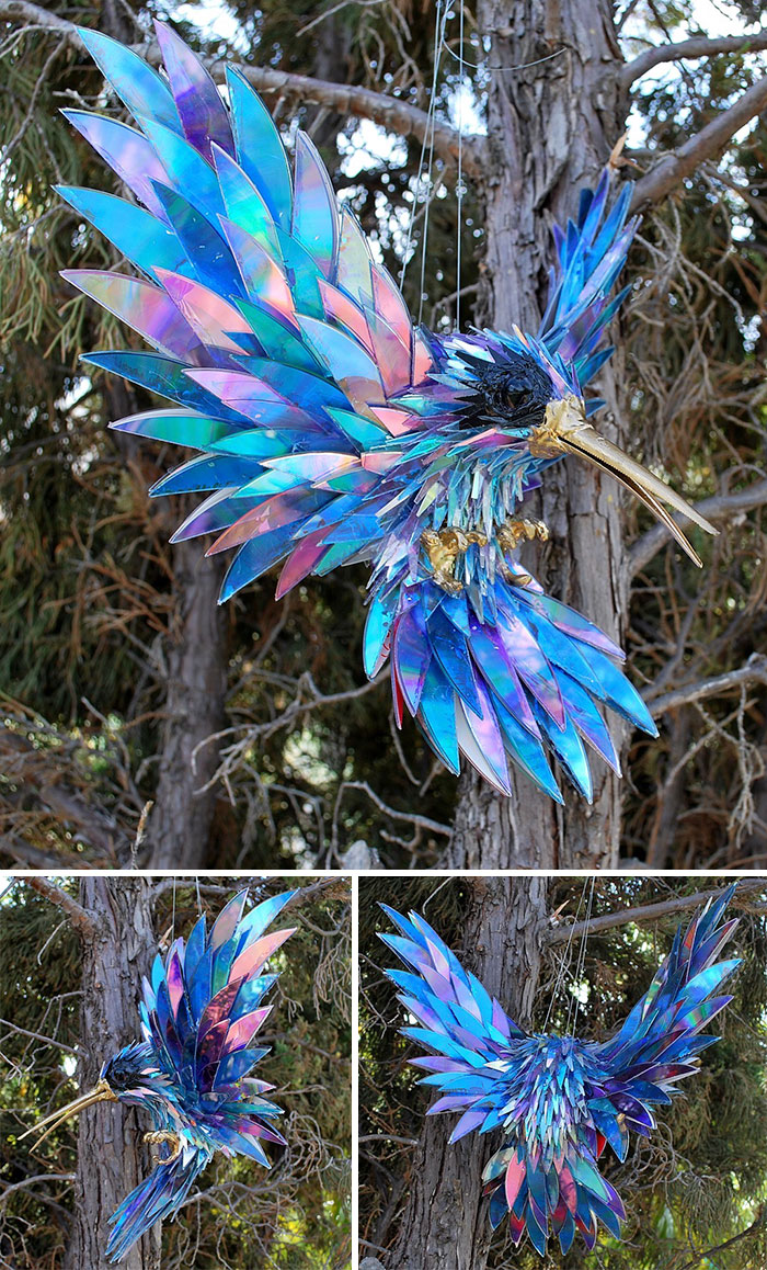 cd animal sculptures recycled art sean avery 55 5885c8e8533ee 700 - Artista transforma CDs antigos em esculturas incríveis invés de jogá-los fora