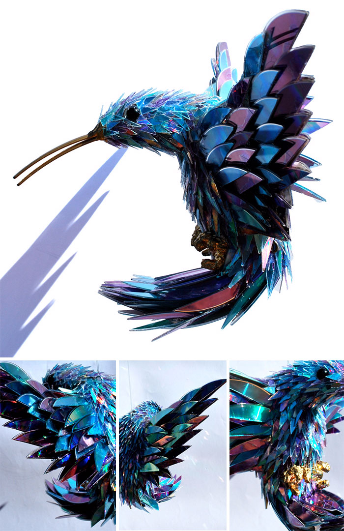 cd animal sculptures recycled art sean avery 73 5885c9120879e 700 - Artista transforma CDs antigos em esculturas incríveis invés de jogá-los fora