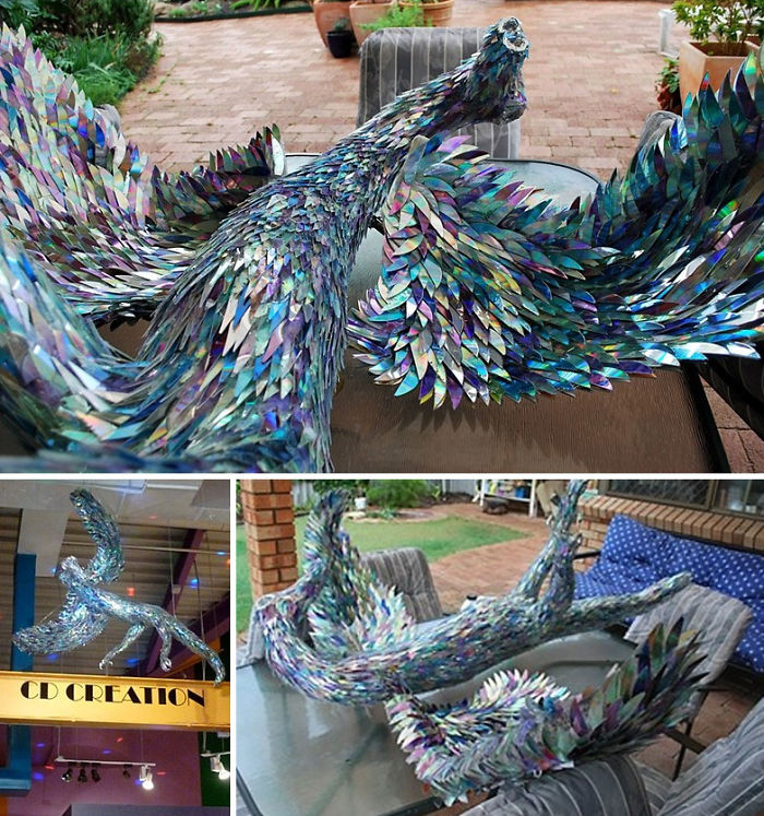 cd animal sculptures recycled art sean avery 81 5885cc9e29205 700 - Artista transforma CDs antigos em esculturas incríveis invés de jogá-los fora
