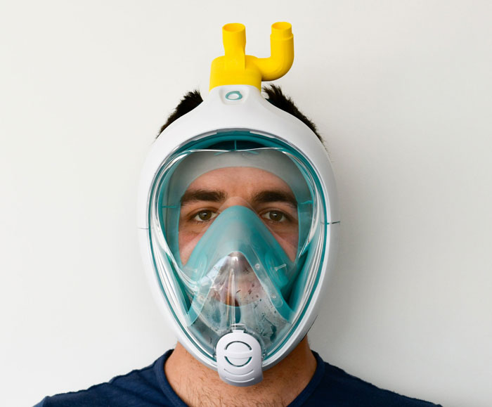 mascararesp2 - Engenheiros italianos transformam máscaras de mergulho em ventiladores que salvam vidas