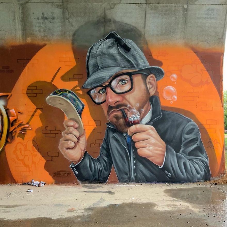 French artist turns an abandoned natural gas tank into a giant cat 5e9e99d7590fb 880 - Esse artista de rua é capaz de confundir a mente de qualquer um com suas belas artes ilusionistas