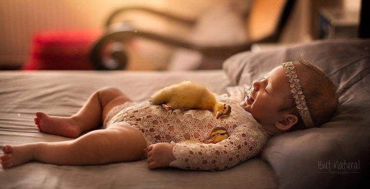 bebe6 - Fotógrafo faz ensaio com recém-nascidos e filhotinhos e o resultado é muito fofo
