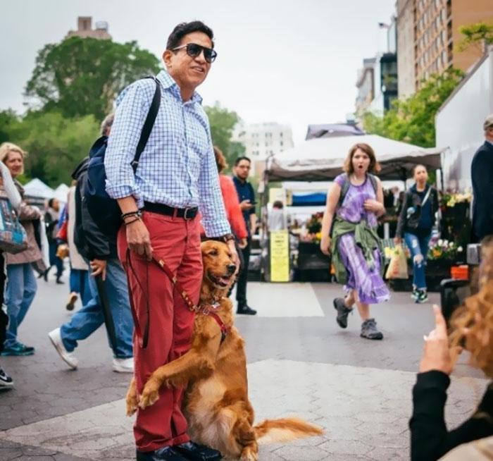 dog gives hugs louboutina retriever new york 3 - Este Retriever amou abraçar e está obcecado em abraços