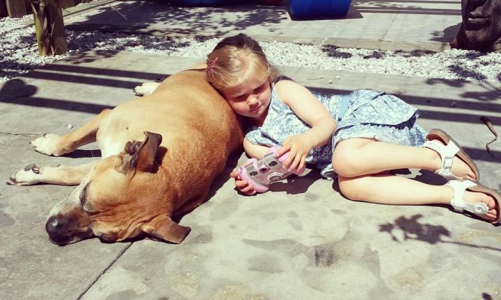 lynn y jaden perro fiel triste 9 - Com apenas 6 anos, menina fica com seu cão idoso até seu último suspiro
