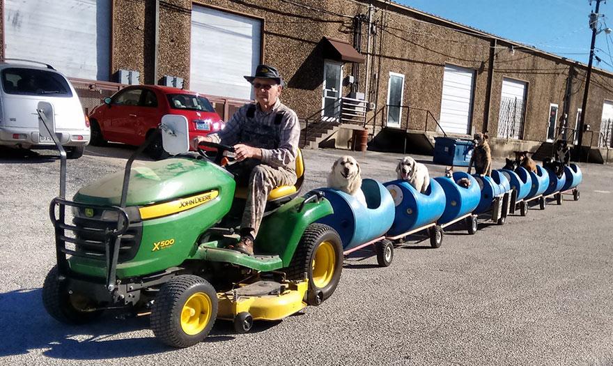 rescued dog train tractor stray eugene bostick 7 - Com seus 80 anos, ele decidiu construir um trem capaz de resgatar vários cães de rua e levá-los em uma aventura
