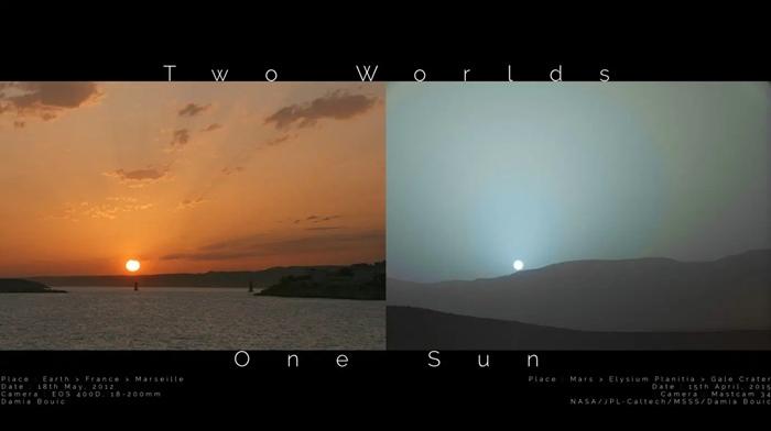 700 - Fotos inéditas foram divulgadas da Nasa mostrando a diferença no pôr do sol da Terra e Marte