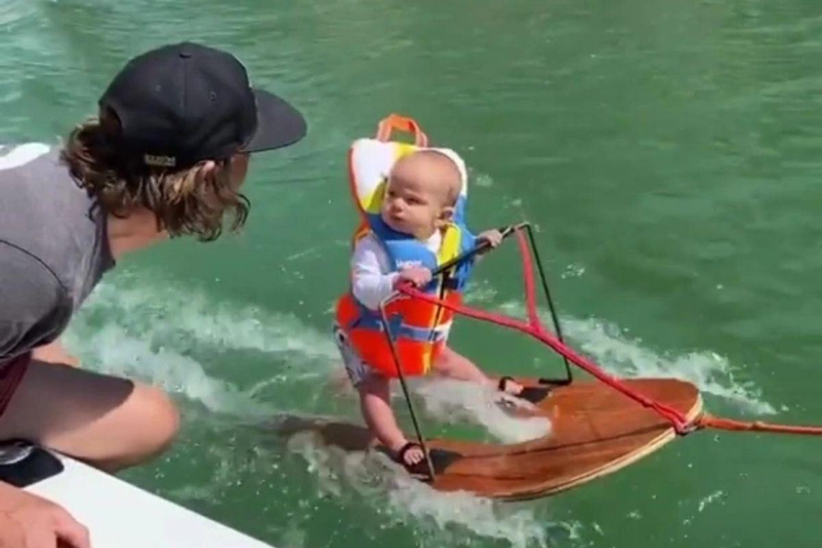 bebe recorde - Bebê com 6 meses bate recorde mundial e se torna a pessoa mais jovem a fazer esqui aquático