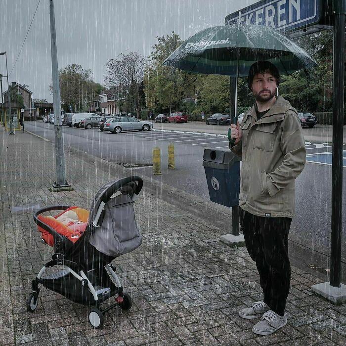 pai9 - Pai criativo manda fotos editadas para namorada sempre que ela perguntava se o bebê estava bem