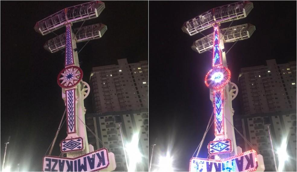 kamikaze - Brinquedo trava no ar e deixa pessoas de cabeça para baixo a 18 metros de altura em parque de diversões